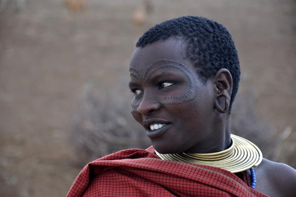 Datoga woman with traditional tattoo in tanzania