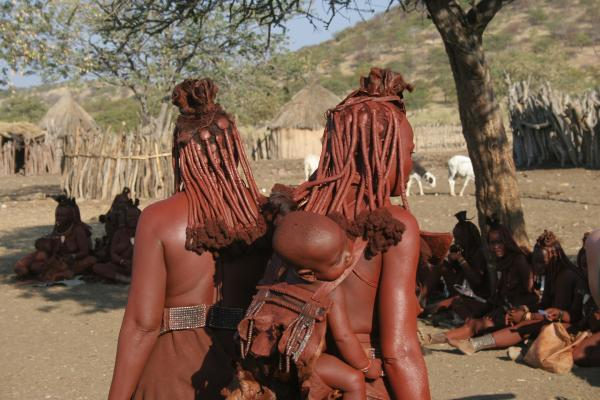 Himba women show beautiful hairstyle