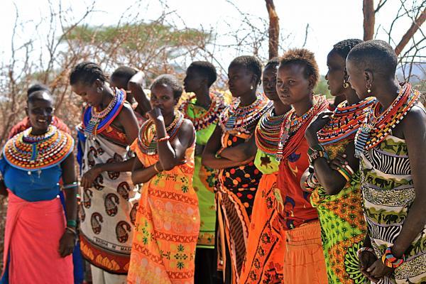 samburu women with wonderful coloured clothing