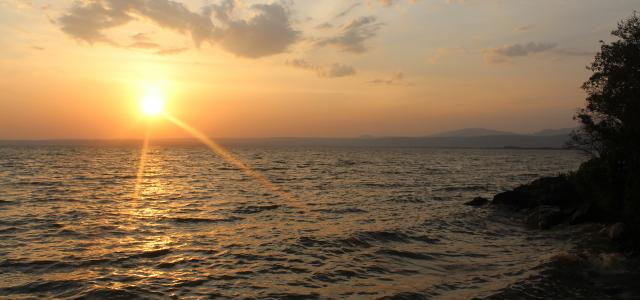 luo land in kenya, wonderful sunset in lake victoria