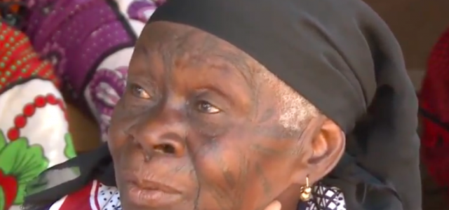 Makonde woman with traditional tattoo in tanzania