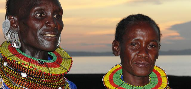 turkana people at the sunset