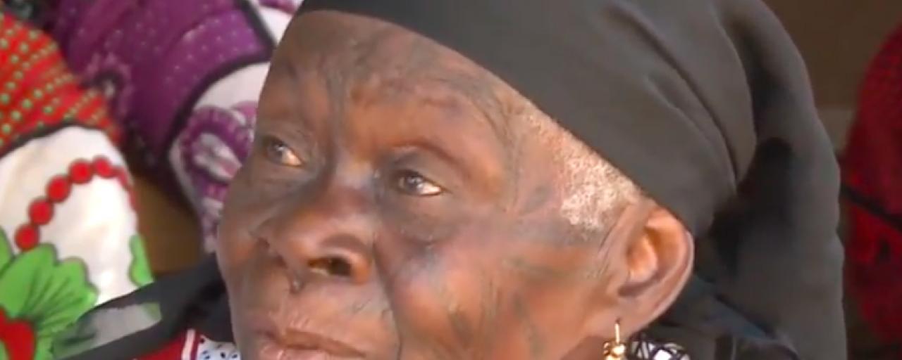 Makonde woman with traditional tattoo in tanzania