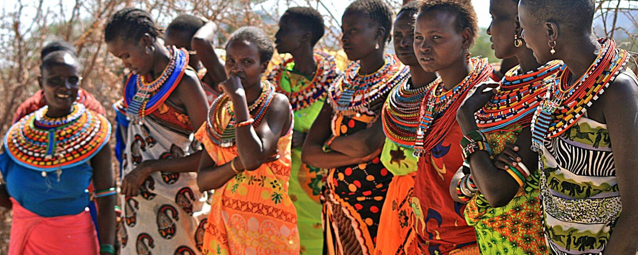 samburu women with wonderful coloured clothing
