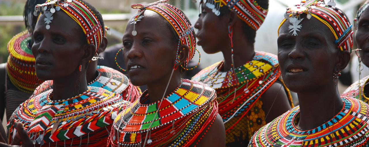 turkana women with wonderful colored necklaces kenya
