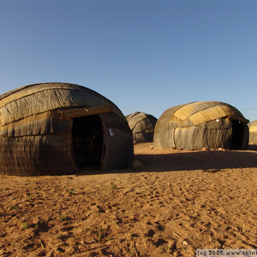 nama people live in big huts in namibia