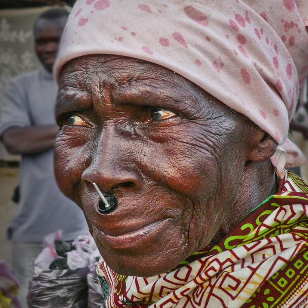 Makonde woman with tatoo and labret in tanzania