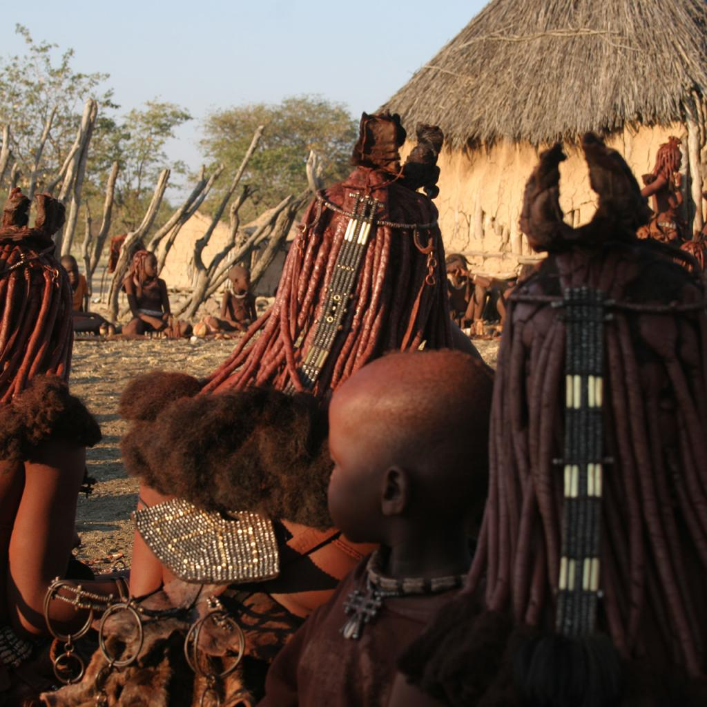 Himba women show beautiful hairstyle