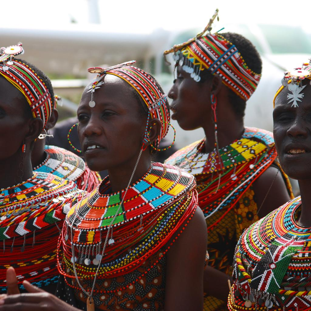 turkana women with wonderful colored necklaces kenya